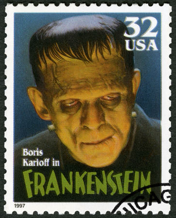 monster movie: UNITED STATES OF AMERICA - CIRCA 1997: A stamp printed by USA shows portrait of William Henry Pratt Boris Karloff (1887-1969) as Frankenstein Monster, series Classic Movie Monsters, circa 1997 Editorial