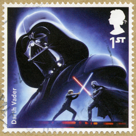 lucas: UNITED KINGDOM - CIRCA 2015: A stamp printed in United Kingdom shows portrait of Darth Vader, series Star Wars, The Force Awakens, circa 2015 Editorial
