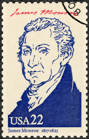 founding fathers: UNITED STATES OF AMERICA - CIRCA 1986: A stamp printed in USA shows portrait James Monroe (1758-1831), fifth President of the USA, series Presidents of USA, circa 1986