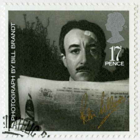 brandt: GREAT BRITAIN - CIRCA 1985: A stamp printed in Great Britain shows Richard Henry Peter Sellers (1925-1980), by Bill Brandt, series 20th Centenary Stars and Directors of Film, circa 1985