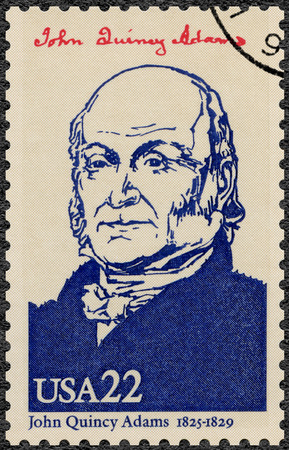 founding fathers: UNITED STATES OF AMERICA - CIRCA 1986: A stamp printed in USA shows portrait John Quincy Adams (1767-1848), sixth President of the USA, series Presidents of USA, circa 1986