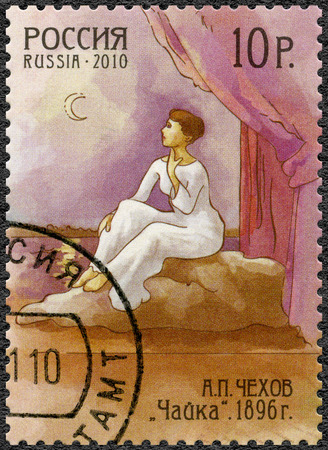 dramatist: RUSSIA - CIRCA 2010: A stamp printed in Russia shows The Seagull, dedicated the 150th anniversary of birth of Anton Chekhov (1860-1904), writer, circa 2010 Editorial