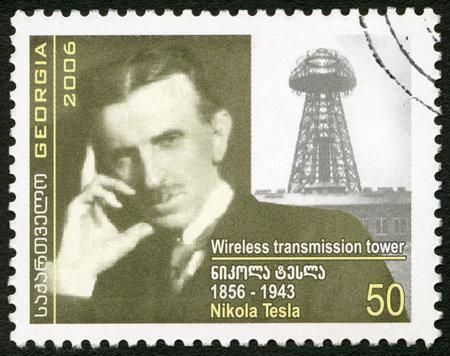 telegraphy: GEORGIA - CIRCA 2006: A stamp printed in Georgia shows Nikola Tesla (1856-1943), inventor, circa 2006 Editorial