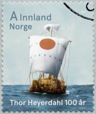ra: NORWAY - CIRCA 2014: A stamp printed in Norway shows The Ra II, devoted Thor Heyerdahl (1914-2002), traveller, 100th Birth Anniversary, circa 2014