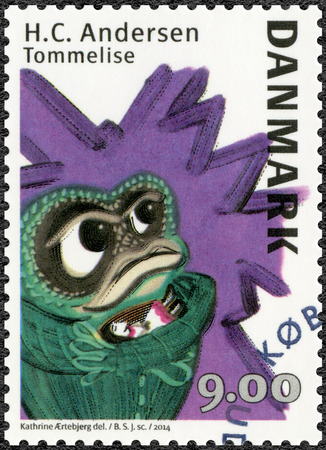 hans: DENMARK - CIRCA 2014: A stamp printed in Denmark shows Toad and Thumbelina, devoited Hans Christian Andersen (1805-1875),  writer, circa 2014 Editorial
