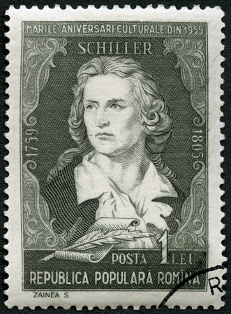 national poet: ROMANIA - CIRCA 1955: A stamp printed in Romania shows Friedrich von Schiller (1759-1805), poet, series Portraits, circa 1955