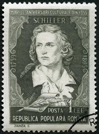 rumania: ROMANIA - CIRCA 1955: A stamp printed in Romania shows Friedrich von Schiller (1759-1805), poet, series Portraits, circa 1955