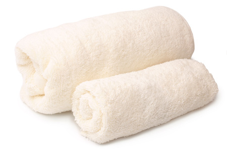 Bath towels on white background 스톡 콘텐츠