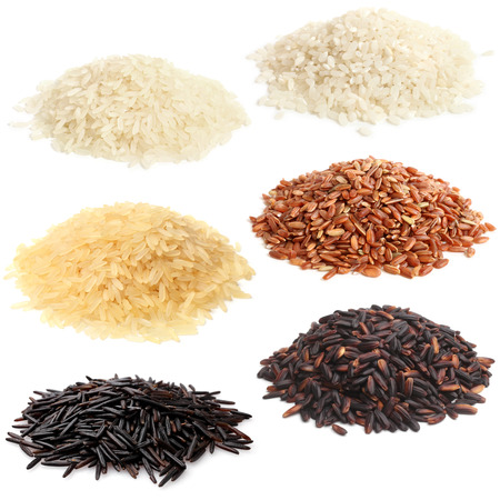 Selection of various rice on white background