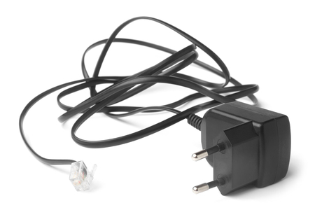 adapter: Adapter for cordless telephone on white background