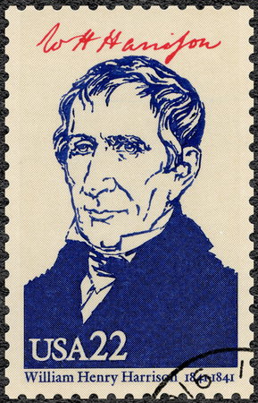 ninth: UNITED STATES OF AMERICA - CIRCA 1986: A stamp printed in USA shows portrait William Henry Harrison (1773-1841), ninth President of the USA, series Presidents of USA, circa 1986 Editorial