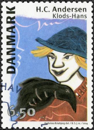 maldestro: Danimarca - CIRCA 2014: Un timbro stampato in Danimarca mostra Gianbabbeo, dedicato Hans Christian Andersen (1805-1875), scrittore, circa 2014