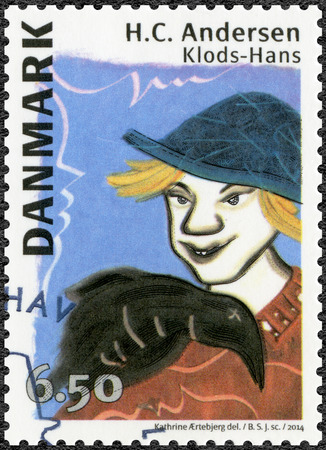 clumsy: DENMARK - CIRCA 2014: A stamp printed in Denmark shows Clumsy Hans, devoted Hans Christian Andersen (1805-1875),  writer, circa 2014 Editorial