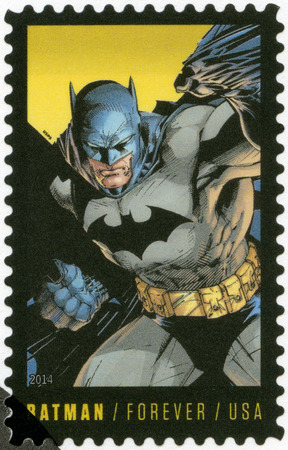 batman: UNITED STATES OF AMERICA - CIRCA 2014: A stamp printed in USA shows Batman, series the 75th anniversary of a DC Comics, circa 2014