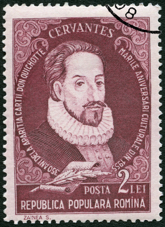 national poet: ROMANIA - CIRCA 1955: A stamp printed in Romania shows Miguel de Cervantes Saavedra (1547-1616), poet, series Portraits, circa 1955 Editorial