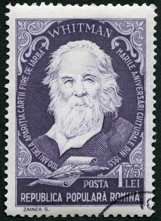 rumania: ROMANIA - CIRCA 1955: A stamp printed in Romania shows Walter Walt Whitman (1819-1892), american poet, series Portraits, circa 1955 Editorial