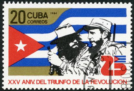 castro: CUBA - CIRCA 1984: A stamp printed in Cuba shows Ernesto Che Guevara (1928-1967), Fidel Alejandro Castro Ruz (born 1926), dedicated 25th anniversary of the Revolution, circa 1984