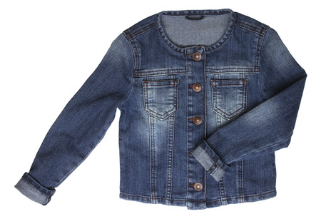 denim: Baby denim jacket isolated on white background