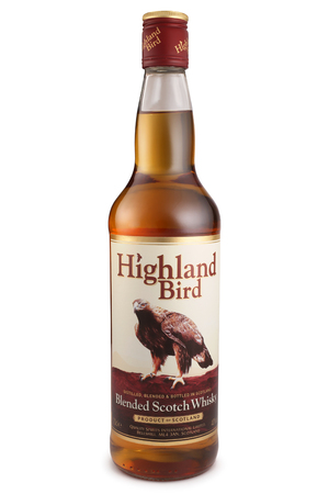 scotch whisky: ST. PETERSBURG, RUSSIA - December 12, 2015: Bottle of Highland Bird, Blended Scotch Whisky, Scotland