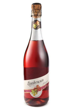 lambrusco: ST. PETERSBURG, RUSSIA - December 12, 2015: Bottle of Lambrusco Rosato Amabile, Valle Calda, Italy Editorial