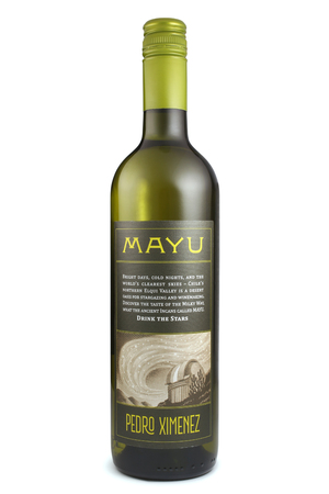 closed corks: ST. PETERSBURG, RUSSIA - December 26, 2015: Bottle of Mayu Pedro Ximenez, Elqui Valley, Chile
