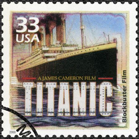 blockbuster: UNITED STATES OF AMERICA - CIRCA 2000: A stamp printed in USA shows Poster for Titanic, 1997, devote blockbuster film, series Celebrate the Century, 1990s, circa 2000 Editorial