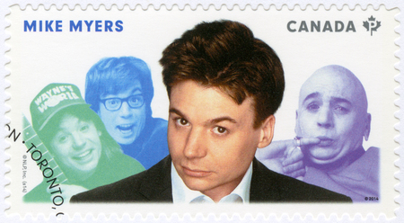 screenwriter: CANADA - CIRCA 2014: A stamp printed in Canada shows Michael John Mike Myers (born 1963), actor, series Great Canadian Comedians, circa 2014
