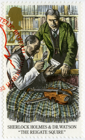 holmes: UNITED KINGDOM - CIRCA 1993: A stamp printed in United Kingdom shows Sherlock Holmes and Dr.Watson, The Reigate Squire, circa 1993 Editorial