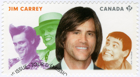 screenwriter: CANADA - CIRCA 2014: A stamp printed in Canada shows James Eugene Jim Carrey (born 1962), actor, series Great Canadian Comedians, circa 2014
