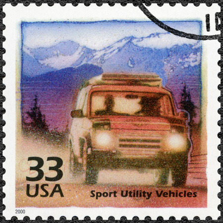 devote: UNITED STATES OF AMERICA - CIRCA 2000: A stamp printed in USA devote Increase in popularity of off-road vehicles, series Celebrate the Century, 1990s, circa 2000 Editorial