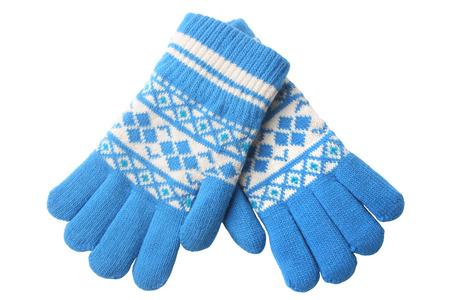 Warme wollen gebreide handschoenen geïsoleerd op witte achtergrond Stockfoto