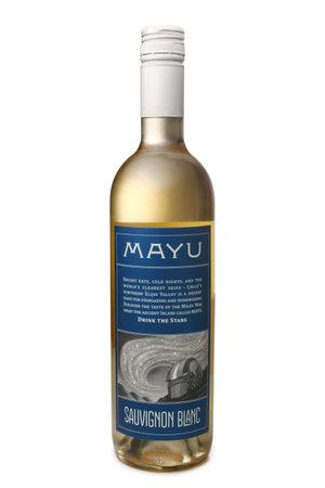sauvignon: ST. PETERSBURG, RUSSIA - February 09, 2016: Bottle of Mayu Sauvignon Blanc, Elqui Valley, Chile