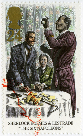 sherlock: UNITED KINGDOM - CIRCA 1993: A stamp printed in United Kingdom shows Sherlock Holmes and Lestrade, The Six Napoleons, circa 1993