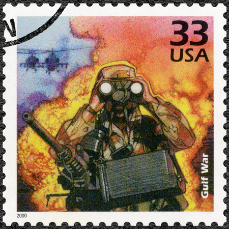 storms: UNITED STATES OF AMERICA - CIRCA 2000: A stamp printed in USA show Soldier and Chinook helicopters, Iraqi invasion of Kuwait, 1990, devote Gulf War, series Celebrate the Century, 1990s, circa 2000