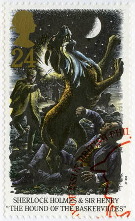 UNITED KINGDOM - CIRCA 1993: A stamp printed in United Kingdom shows Sherlock Holmes and Sir Henry, The Hound of The Baskerviules, circa 1993
