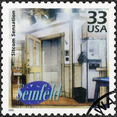 sensation: UNITED STATES OF AMERICA - CIRCA 2000: A stamp printed in USA devote Seinfeld, television comedy, shows Sitcom Sensation, series Celebrate the Century, 1990s, circa 2000