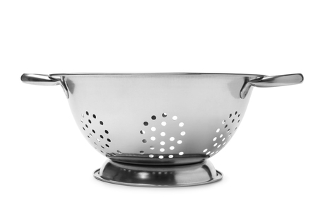 a colander: Stainless steel colander on white background Stock Photo