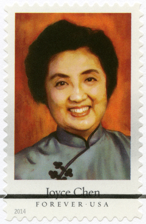 restaurateur: UNITED STATES OF AMERICA - CIRCA 2014: A stamp printed in USA shows Joyce Chen (1917-1994), Chinese chef, author, and television personality, series Celebrity Chefs, circa 2014 Editorial