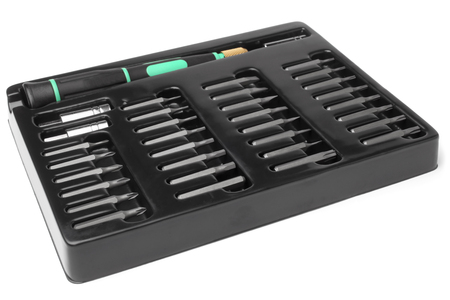 bit background: Tool kit case of bit shank for screwdriver on white background Stock Photo