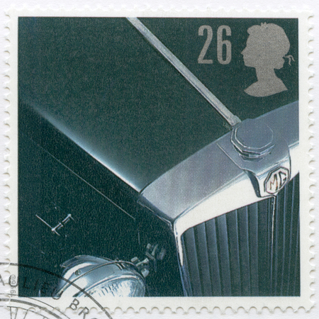 td: UNITED KINGDOM - CIRCA 1996: A stamp printed in United Kingdom shows MG TD, series Classic British Sports Cars, circa 1996
