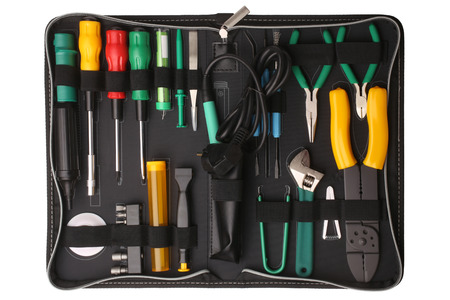 Professional tool kit case for network computer repair isolated on white background