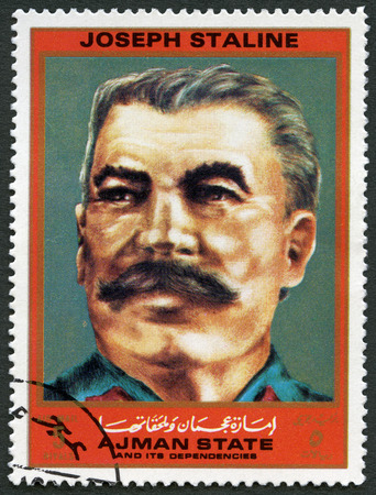AJMAN - CIRCA 1972: A stamp printed in Ajman shows Joseph Vissarionovich Stalin Jughashvili (1878-1953), series Figures from the Second World War, circa 1972