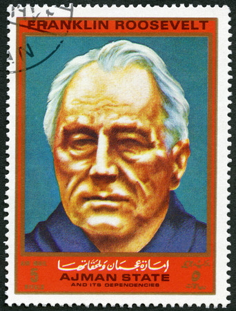 delano: AJMAN - CIRCA 1972: A stamp printed in Ajman shows President of USA Franklin D. Roosevelt (1882-1945), series Figures from the Second World War, circa 1972 Editorial