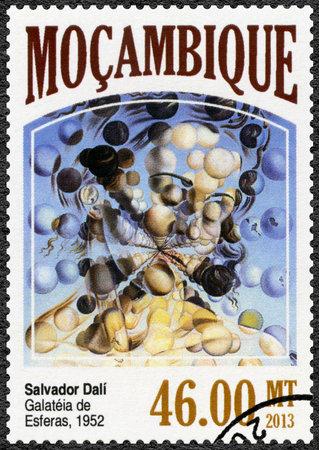 MOZAMBIQUE - CIRCA 2013: A stamp printed by Mozambique shows Galatea of ??the Spheres, 1952, by Salvador Dali (1904-1989), circa 2013