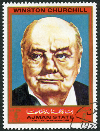 postmail: AJMAN - CIRCA 1972: A stamp printed in Ajman shows Winston Churchill (1874-1965), series Figures from the Second World War, circa 1972