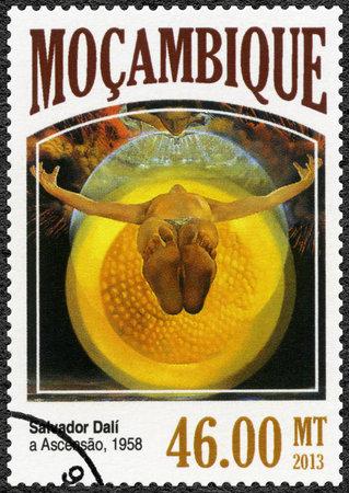 salvador dali: MOZAMBIQUE - CIRCA 2013: A stamp printed by Mozambique shows The Ascension, 1958, by Salvador Dali (1904-1989), circa 2013