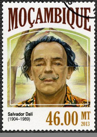 salvador dali: MOZAMBIQUE - CIRCA 2013: A stamp printed by Mozambique shows Salvador Dali (1904-1989), painter, circa 2013