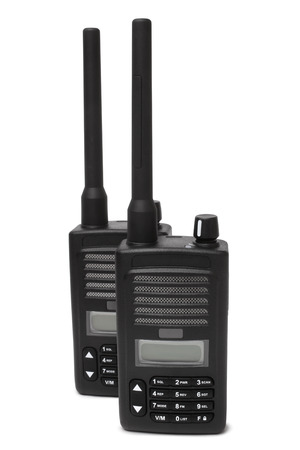 cb phone: Pair of portable radio transmitters on white background