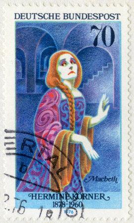 macbeth: GERMANY- CIRCA 1976: A stamp printed in Germany shows Hermine Korner(1878-1960) as Lady Macbeth, series German Actresses, circa 1976
