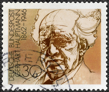 dramatist: GEMANY - CIRCA 1978: A stamp printed in Germany shows Gerhart Hauptmann (1862-1946), dramatist and novelist, series German winners of Nobel Literature Prize, circa 1978 Editorial